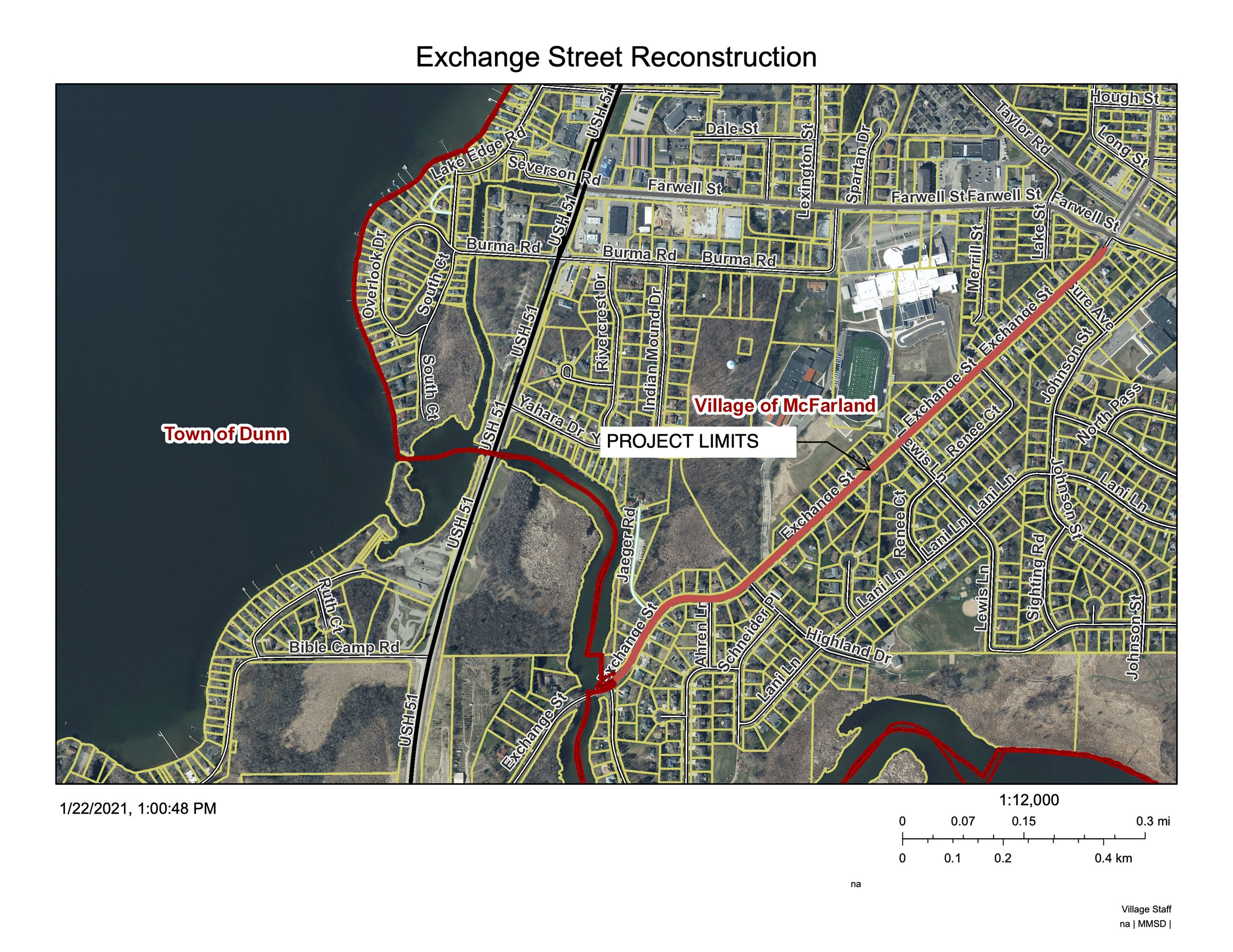 Map of proposed construction for Exchange Street.