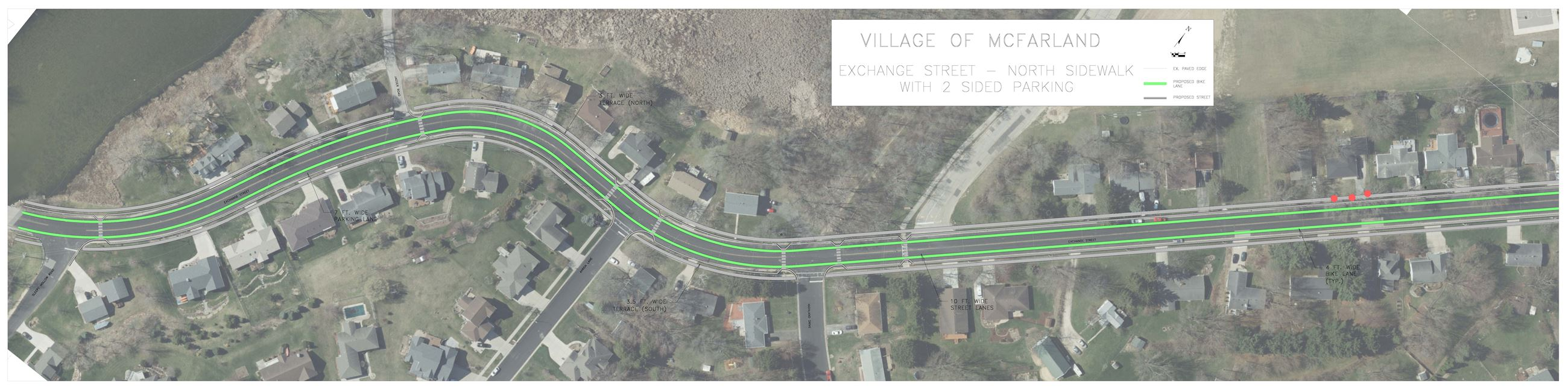 Eastern map of Exchange Street showing north sidewalk with 2-sided parking and proposed bike lane