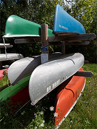 Kayaks and Canoes Stored at Jaeger Park